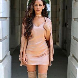 Carli Bybel x Missguided Rose Gold Pink Slip Dress
